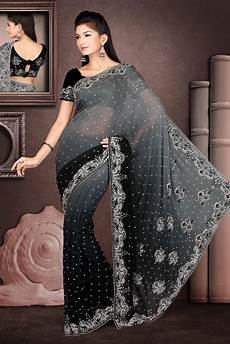 Black Georgette Designer Saree Black Faux Georgette Saree 21755 With Unstitched Blouse