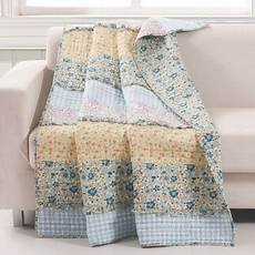 barefoot bungalow ditsy ruffle reversible quilted throw