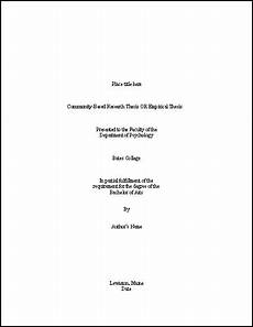 Academic Cover Page Template Thesis Title Page Template Psychology Bates College