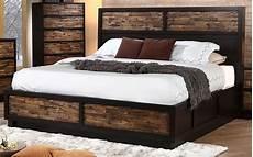 makeeda rustic king platform storage bed b3105 110 128
