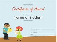 Student Certificates Free Certificate Of Award Elementary Students