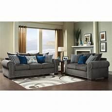 furniture of america grey blue modern 2 sofa