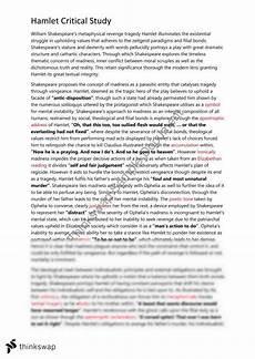 Hamlet Literary Analysis Essay Hamlet Critical Study Essay Year 12 Hsc English