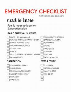 Shopping Checklists Printable Emergency Supplies List From 30daysblog