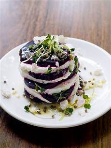 fancy gourmet appetizers with beet and feta cheese