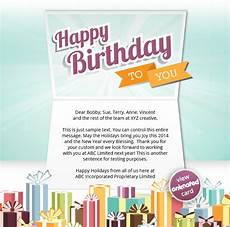 Email Birthday Card Templates Corporate Birthday Ecards Employees Amp Clients Happy