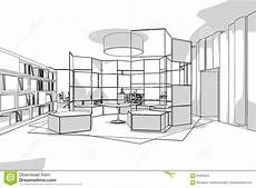 Perspective Office Office Interior Perspective Line Stock Illustration
