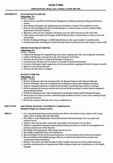Banquet Resume Sample Banquet Server Resume Samples Velvet Jobs