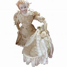 adorable antique doll s cradle bed lace