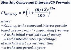 Monthly Compound Interest Formula Compound Interest Ci Formulas Amp Calculator