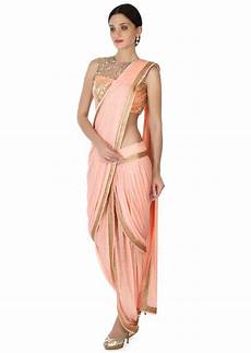 Dhoti Saree Design Pink Dhoti Saree Gown Matched In Embroidered Blouse