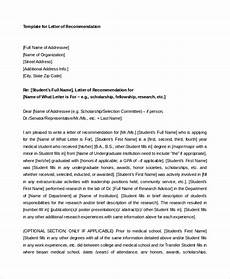 Uic Letter Of Recommendation Free 8 Sample Letter Of Recommendation For Student In Pdf