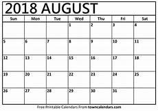 Printable Calendar August Printable August 2018 Calendar Towncalendars Com