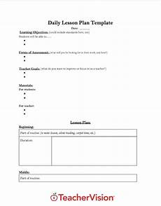 Outline Lesson Plan Example Daily Lesson Plan Template Teachervision