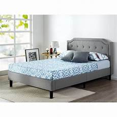 zinus scalloped upholstered grey platform bed