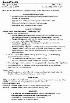 Resume Format Hotel Management Resume Sample Hotel Management Trainee