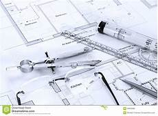 Architecture Equipment Architectural Plans With Drawing Equipment Stock Photo