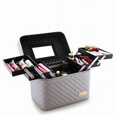 with 4 lift drawer pu leather cosmetic bag make up storage