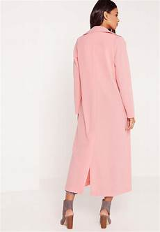 lyst missguided sleeve maxi duster jacket pink in pink