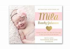 New Baby Announcement Cards Pink And Gold Baby Girl Birth Announcement Card Digital