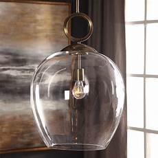 Large Glass Pendant Light Fixtures Uttermost Calix Large Blown Glass 1 Light Pendant
