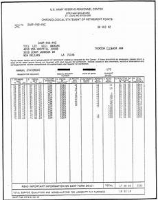 Army Reserve Retirement Points Chart Darp Form 249 2 E Chronological Statement Of Retirement