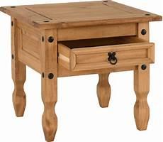 corona 1 drawer l table distressed waxed pine