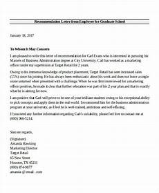 Sample Graduate School Recommendation Letter From Employer Free 7 Employer Recommendation Letter Samples In Ms Word