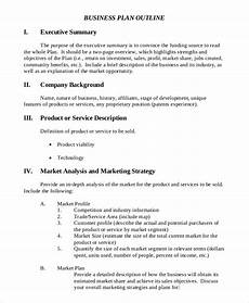New Business Outline Free 10 Executive Summary Samples Project Business