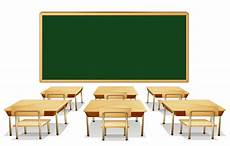 classroom with green board and desks png clipart image