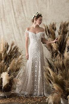 lace fringe wedding dress dreamers and