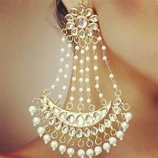 Earrings Design Images Buy White Pearl Earring Kundan Nazaqat Jhoomer Pair Online