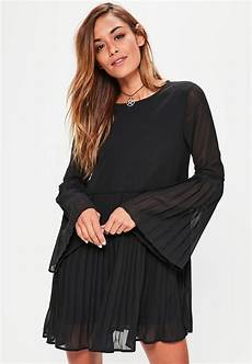 big sleeve dresses for lyst missguided black sleeve pleated swing dress in