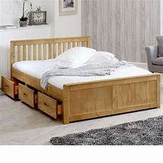 mission waxed pine wooden storage bed frame 4ft small