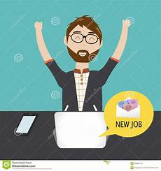 How To Get A New Job Hipster Man Get The New Job Stock Vector Illustration Of