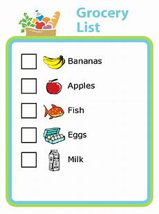 Making A Grocery List Worksheet Grocery Shopping List With Pictures For Kids The Trip Clip