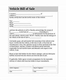 Vehicle Bill Of Sale Template Pdf Free 7 Sample Vehicle Bill Of Sale Templates In Pdf Ms Word