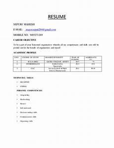 Models Of Resume Resume Model By Sepuri