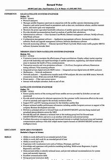 Systems Engineer Resume Satellite Systems Engineer Resume Samples Velvet Jobs