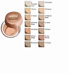 Maybelline Better Skin Foundation Colour Chart Dream Matte Mousse Foundation