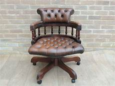 chesterfield brown fully buttoned vintage captains chair