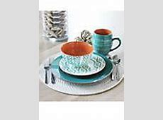 Baum Brothers Tangiers Turquoise 16 Piece Dinnerware Set