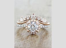 Maive Mixed : Round Diamond Halo Engagement Ring in Rose