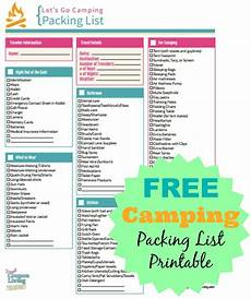Printable Packing List Free Camping Packing List Printable