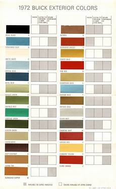 Exterior Color Chart 1972 Buick Exterior Colors Chart