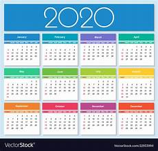 images for calendar 2020 colorful year 2020 calendar royalty free vector image