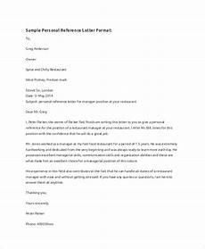 Example Of Personal Letter Format Sample Reference Letter Format 8 Examples In Word Pdf