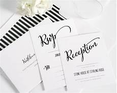 Wedding Invitations Black And White Modern Calligraphy Wedding Invitations In Black And White