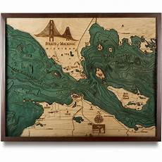 Great Straits Chart Straits Of Mackinac Wooden Map Art Topographic 3d Chart
