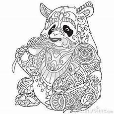 Ausmalbilder Tiere Panda Zentangle Stilisierte Panda Panda Coloring Pages